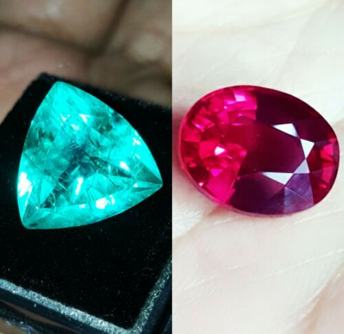 Details about  /Natural Loose Gems Emerald /& Ruby Mixed  8 to 10 cts Shape Certified Pair T131