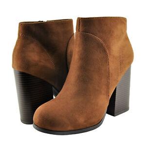 Details about Women's Shoes Speed Limit 98 Bertie Closed Toe Block Heel Bootie Cognac *New*