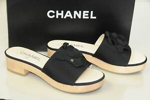 ee8a488597 Image is loading 875-New-Chanel-Black-Grosgrain-Satin-Camellia-Mules-