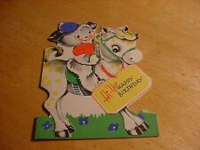 Vintage 1940s GIBSON BIRTHDAY Card w/Dog Riding PONY or HORSE