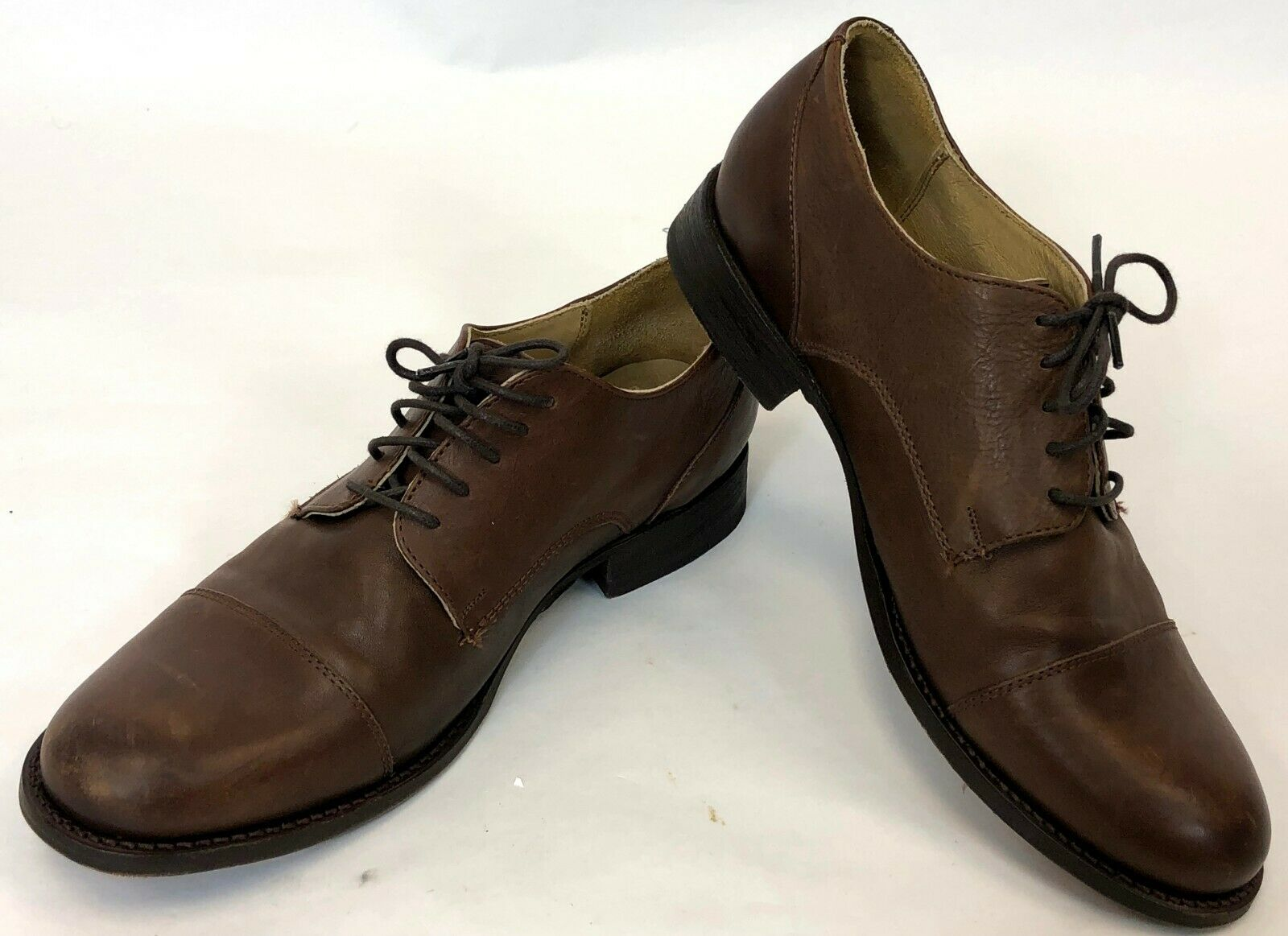 Frye Mens Brown Tan Genuine Leather Lace Up Toe Cap Oxford shoes Size 8.5 B
