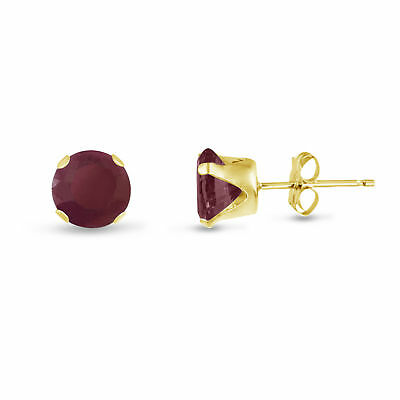 Round 9mm Genuine Red Ruby 10k Yellow Gold Stud Earrings