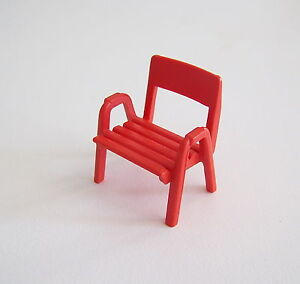 PLAYMOBIL-V164-CAMPING-Chaise-Rouge-Caravane-3588-Vintage