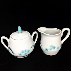 Vtg-Cream-And-Sugar-Bowl-Set-Bone-China-Porcelain-1960-s-Blue-White-Signed