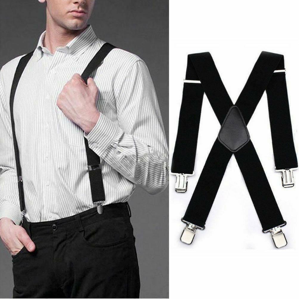 5cm Unisex Men's Braces Plain Black Wide & Heavy Duty Suspenders Adjustable UK