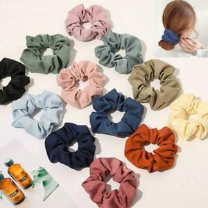 1 Pc Women Girls Elastic Hair Rope Faux Silk Satin Scrunchie Colorful Hairband