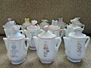 Precious-Moments-teapot-shape-spice-jar-set-12-excellent-condition-collectible