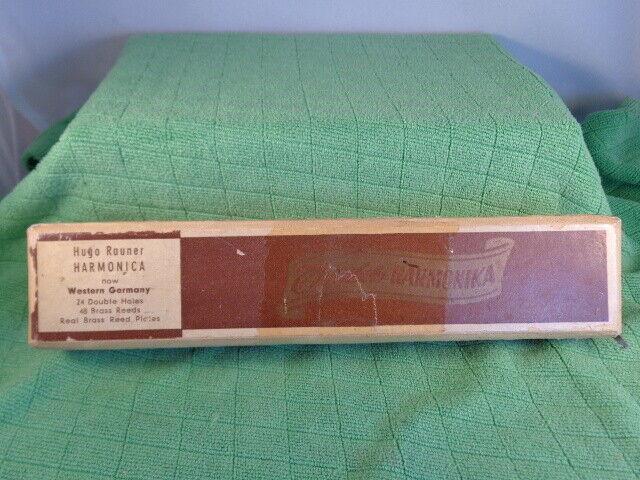 VINTAGE HUGO RAUNER'S TREMOLO HARMONICA KEY C 24 48 HOLES+BOX- GERMANY MADE