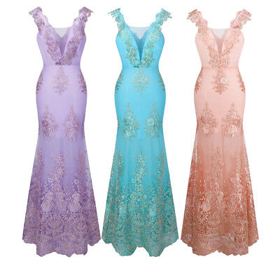 Angel-fashions Womens V-Neck Embroidery Lace Flower Evening Dress 310