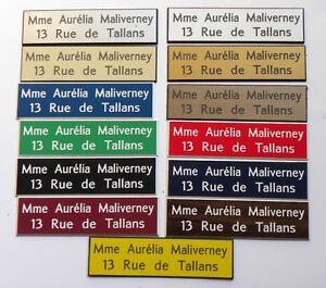 Plaque-de-boite-aux-lettres-2-lignes-10x2-5-cm-couleur-au-choix-biseautee
