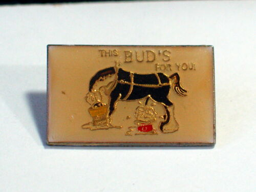 "Vintage /""This Bud/'s for You/"" Horse Drinking Beer and Peeing in a Bucket Pin"
