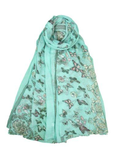 Women Ladies Long  New Butterfly Pattern Print Shawl Scarf  Warp Stole Turquoise