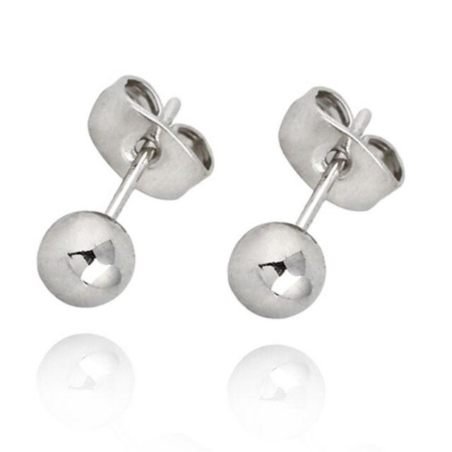 Mens Womens18K White Gold Plated Stud Earring Earring Back Stoppers 5mm