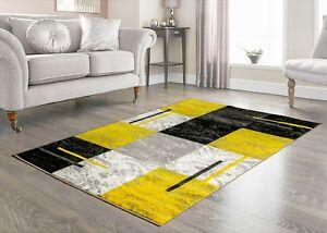 Details About Modern Medium Large Grey Yellow Rug All Floors Scottish Square Carpet Mat Runner