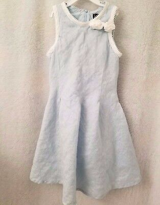 Dresses Search For Flights The Children's Place Girls 100% Linen Blue/white Sundress Lined Dress Size 6x/7