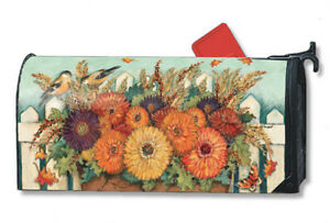 HARVEST-GATE-Autumn-Fall-Flowers-amp-Birds-Magnetic-Mailbox-Cover-Made-in-USA