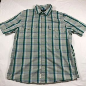 Mens-Woolrich-Snap-Button-Down-Short-Sleeve-Shirt-Green-Grey-Plaid-Large-L