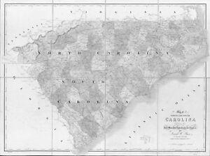 1839 SC MAP Charleston Cherokee County Old South Carolina North Simpsonville BIG