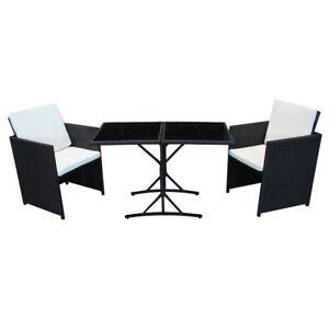 poly rattan sitzgruppe schwarz essgruppe balkon garnitur gartenm bel lounge cube ebay. Black Bedroom Furniture Sets. Home Design Ideas