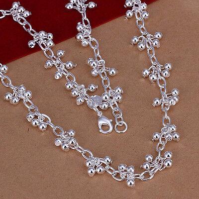 hot! Sterling solid silver fashion jewelry Chain bright grape Necklace XXSN156