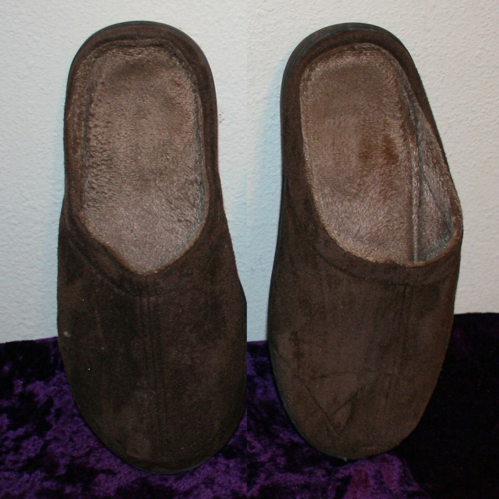 Men's Brown Soft Polyester Memory Foam Insoles Slippers Size Large