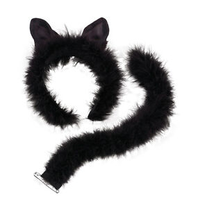 Black Ladies Formal Cat Set Ears Tail Bow and Cuffs Women Partyfun Accessory NEW