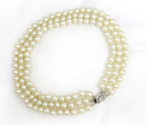 Details about Pearl Necklace Jackie Kennedy Style Pearls Triple Strand  Almost Choker Necklace