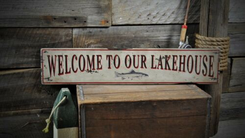 Welcome to Our Lakehouse Sign Rustic Hand Made Vintage Wooden Sign ENS1000368