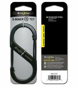 New-Niteize-Nite-Ize-SB5-S-Biner-Stainless-Steel-Dual-Carabiner-Black
