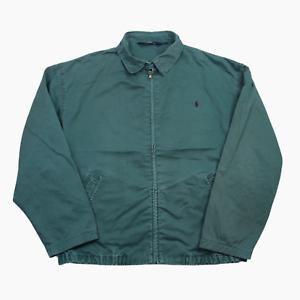 Polo-Ralph-Lauren-Cotton-Full-Zip-Harrington-Jacket-Mens-XL-Bottle-Green-5604