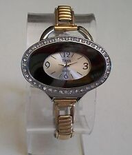 Designer Style Woman stretchy Gold/Silver finish  stone Fashion watch