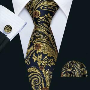 Barry-Wang-Seta-Uomo-Cravatta-Oro-E-Blu-Paisley-Cravatte-Cravatta-Fazzoletto-Set-Matrimonio