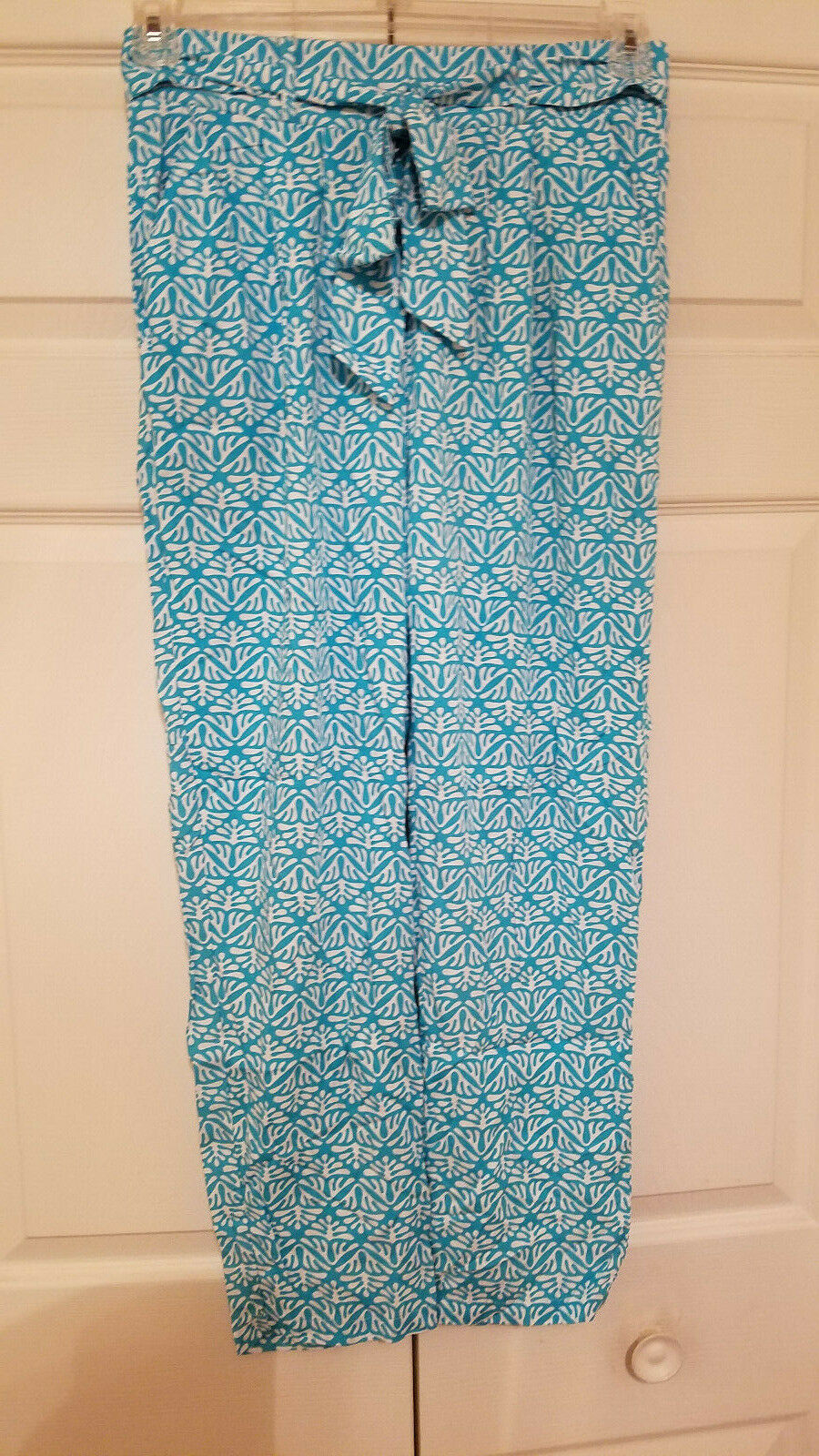 Escapada Living Turquoise & White Turks Size Small Christina Pants (NEW)
