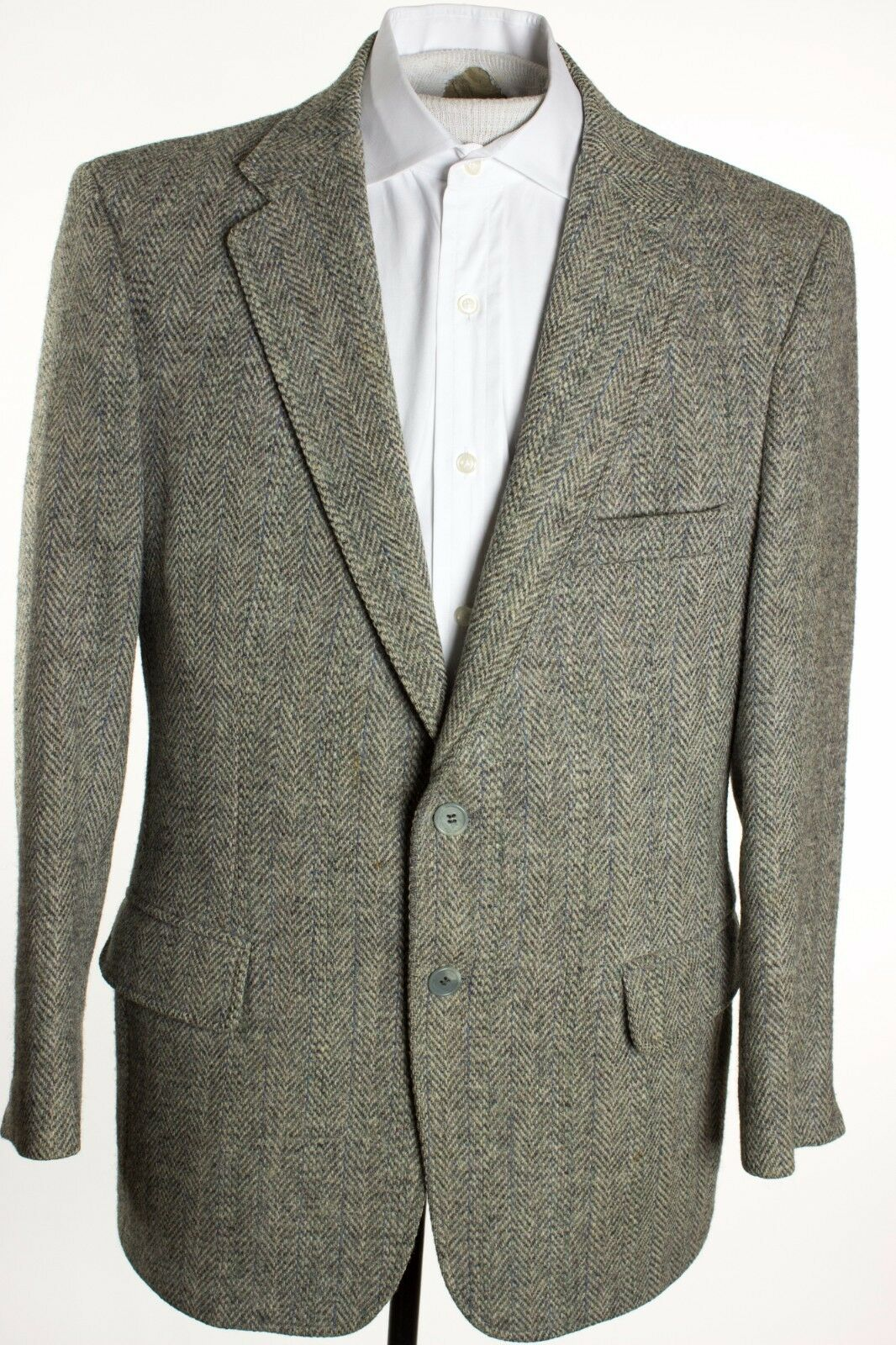 VTG Harris Tweed  Herren 40R grau Tweed Herringbone Sports Coat made in USA