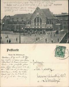 Ansichtskarte-Aachen-Hauptbahnhof-Autos-1906