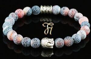 Agate-Rouge-Multicolore-Bracelet-Bracelet-de-Perles-Tete-de-Bouddha-Argent