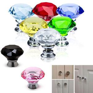 30mm-1-5-10pz-8-Colori-Diamante-Cristallo-Pomello-Di-Vetro-Armadietto
