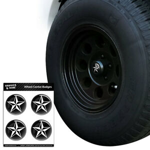 Nautical-Star-Black-Tire-Wheel-Center-Cap-Resin-Topped-Badges-Stickers