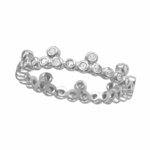 925 Sterling Silver stackable eternity ring w// DIAMONDS SZ 5-9 //NEW DESIGN!