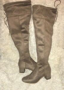 0ff2de164c4 Michael Kors Jamie Over-The-Knee Stretch Suede Boots Silver Chain sz ...
