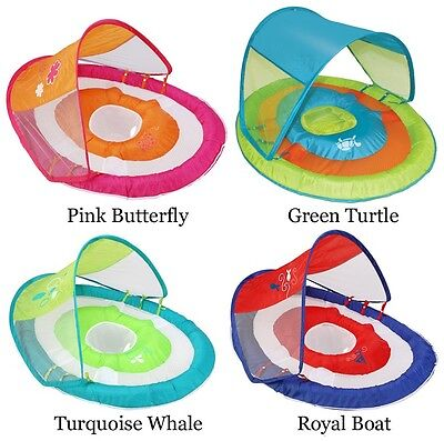 Swimways Whale, Flower, Turtle or Boat Baby Spring Float with Sun Canopy - 16762