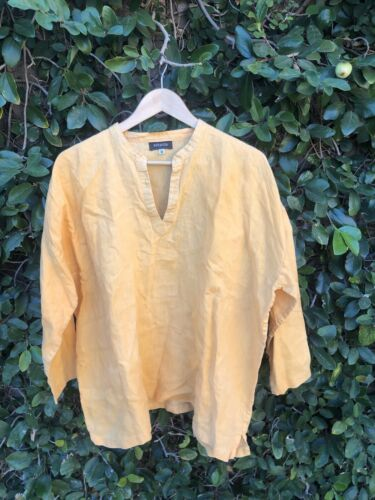 Eskandar Size 0 1x mustard Yellow LInen Split Neck