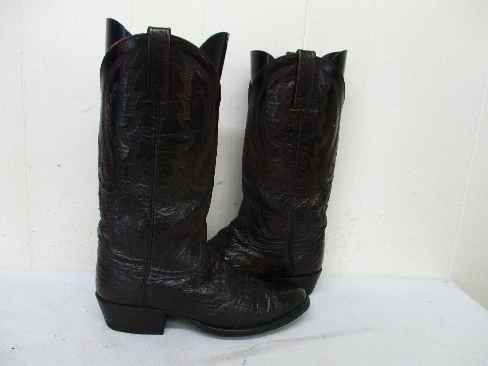 LUCCHESE 2000 Oxblood Ostrich Leather Cowboy Boots Mens Size 8 D USA