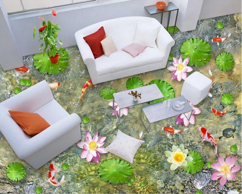 3D flower fish 02350  Floor WallPaper Murals Wall Print Decal 5D AJ WALLPAPER