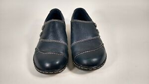 CLARKS-Womens-Shoes-Size-8-5M-Leather-Beautiful-Slip-On-Comfort-Shoes-Navy-Blue