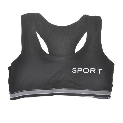 Teens Girls Sports Bra Puberty Gym Yoga Underwear Chest Pad Cotton Free Size xl