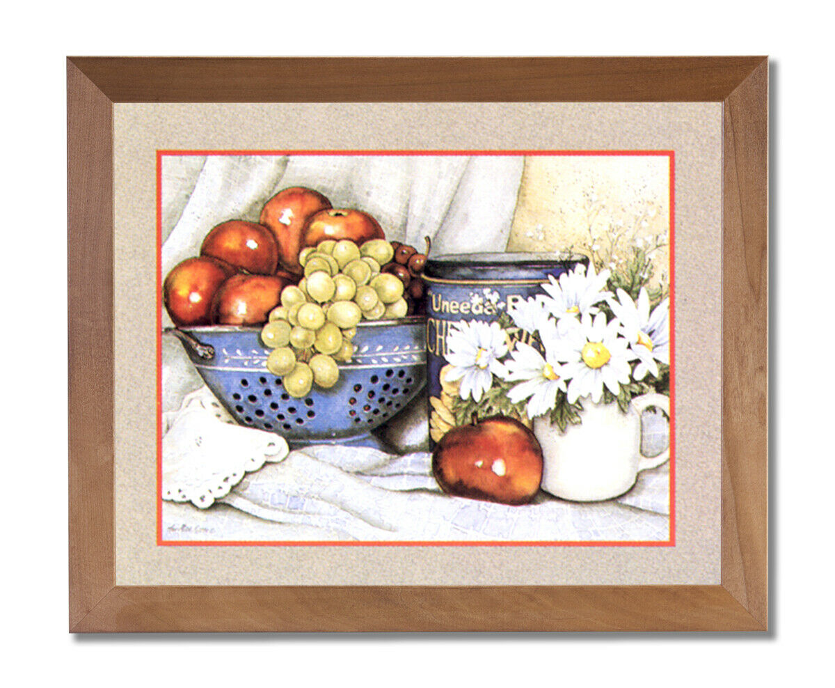Apples Grapes Flowers Kitchen Contemporary Wall Picture Honey Framed Art Print