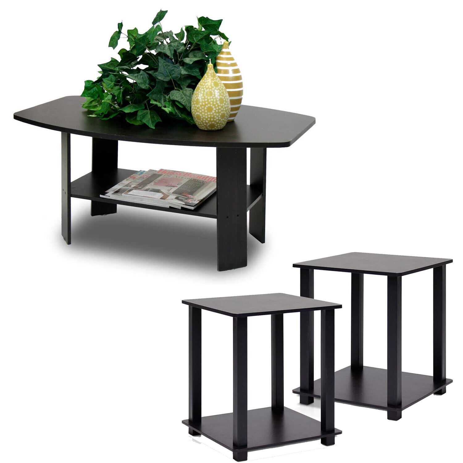Coffee Table And 2 End Tables Side 3 Piece Set Modern Furniture Living Room Wood For Sale Online