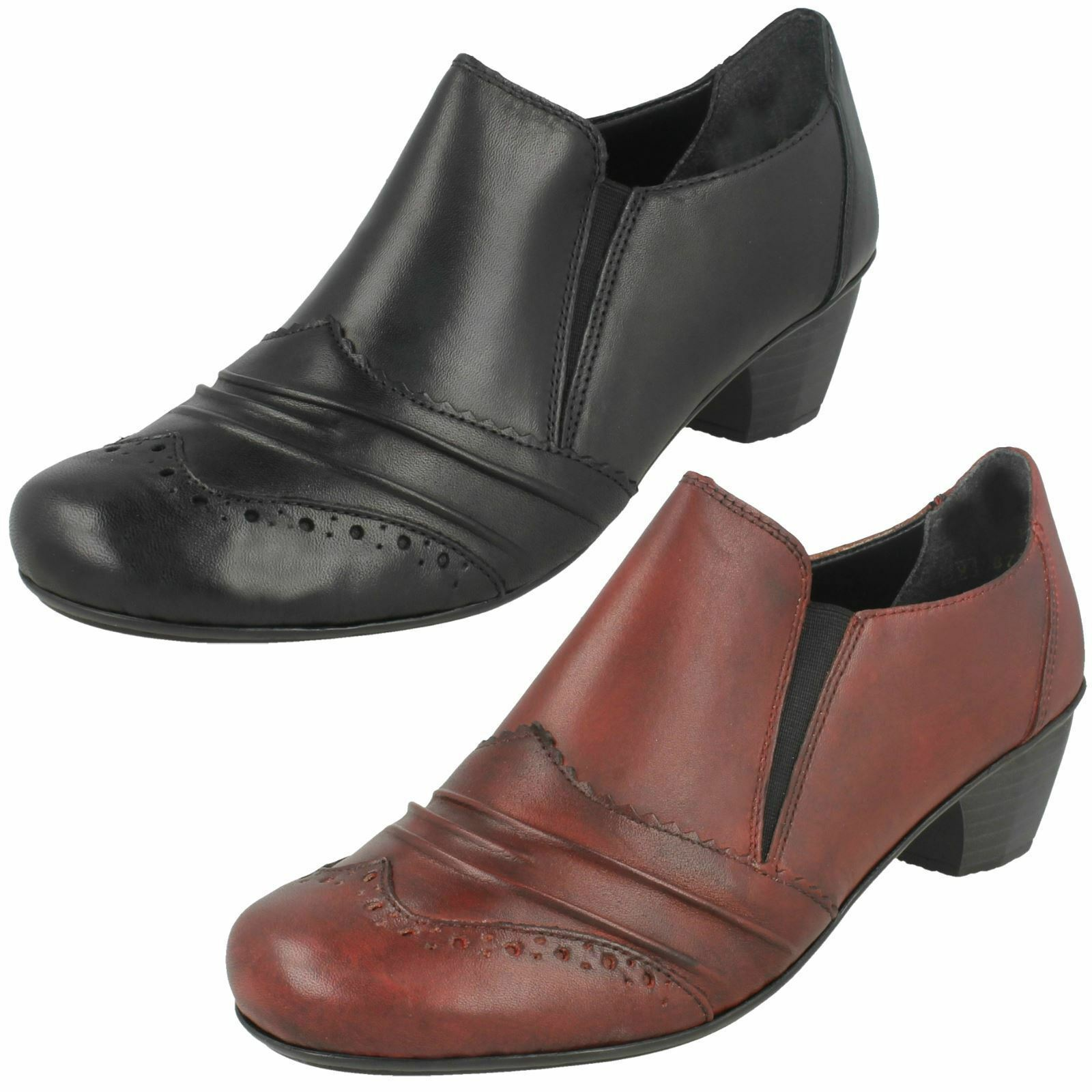 Ladies Rieker 41730 Leather Smart Slip On Trouser Shoes