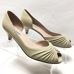 de34b672f8d Details about Steve Madden Women's Kitten Heel Leather Peep Toe Pumps 7.5M  Biege Rental